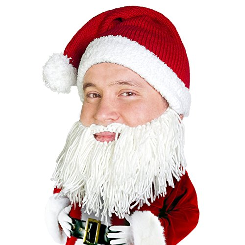 (Beard Head Knitted Santa Beard Hat with Funny Beard Facemask)