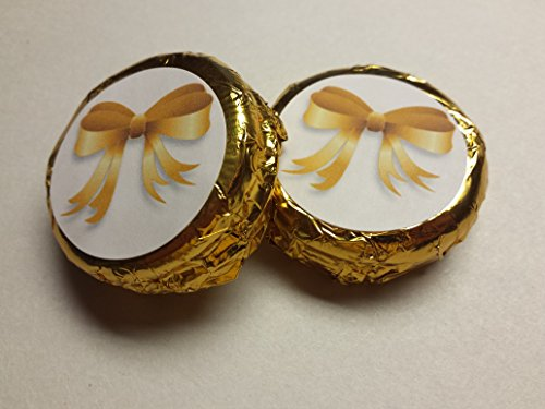 Wedding Favors Dessert Bar Oreos 24 Pieces Wrapped in gold foil and labeled and Coated in Chocolate