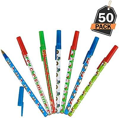 Kompanion 50 Bolígrafos de Navidad – Boli para Regalo – Accesorio de Papelería Navideño- Articulo para Relleno de