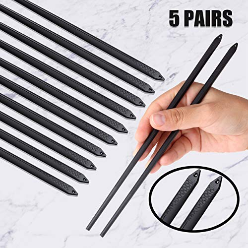 Omia 5 Pairs Fiberglass Chopsticks - Reusable Chopsticks Dishwasher Safe Chopsticks Alloy Chop Sticks Utensil Gift Set (Japanese Koi Fish - Black)