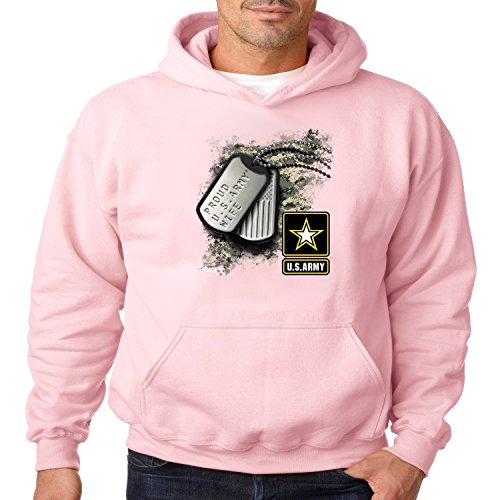 Juiceclouds Proud U.S Army Wife Hoodie American Soldier Mens (Light Pink, M)