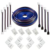 16.4FT(5M) 4-pin RGB LED Strip Extension Cable,LED Strips Connectors Kits with 4 Strip Jumpers,L-Shape Connecters for 5050 Flexible RGB LED Strip Light