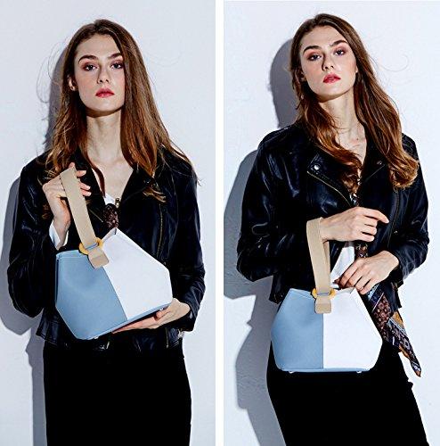 hombro Nueva Shoppers Piel Azul de Azul bolsos y Genuina SAIERLONG Mujer RTq14ww6