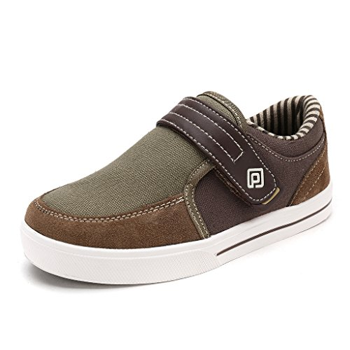 DREAM PAIRS Little Kid Boys' 160479-K Lt.Brown Lt.Grey School Loafers Sneakers Shoes - 1 M US Little Kid