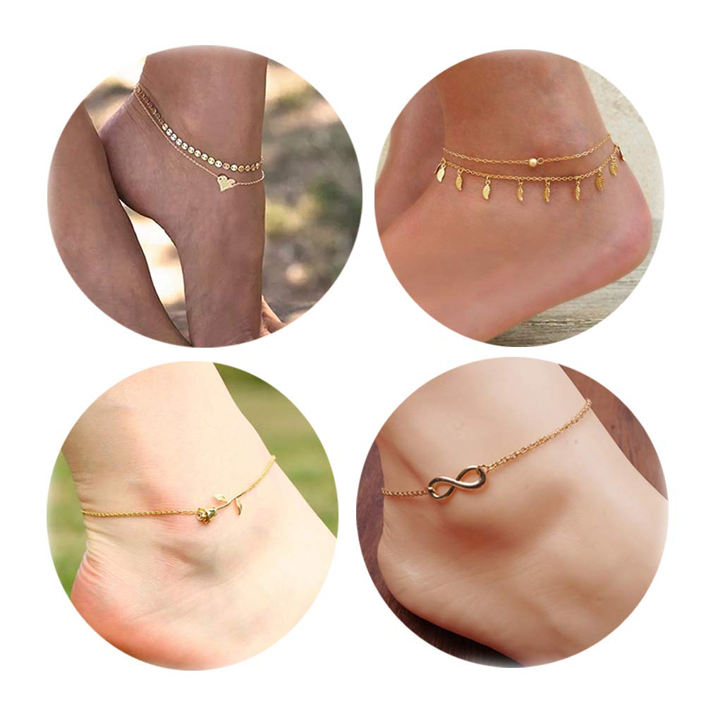 Daycindy Infinity Love Rose Charms Coin Chain Anklets for Women Golden, Pack of 4