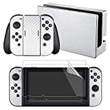 eXtremeRate White Carbon Fiber Decals Stickers Full Set Faceplate Skins +2Pcs Screen Protector for Nintendo Switch Console & Joy-con Controller & Dock Protection Kit