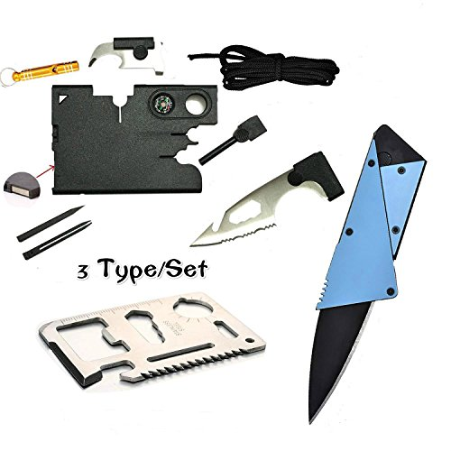 Credit Card Multitool Pocket Tool Kit Wallet Tool with Upgrade 18 IN 1 Credit Card Tool,11 IN 1 EDC Multitool Card,Folding Card Knife By I LIFE (3 Kinds / set EDC Knife)