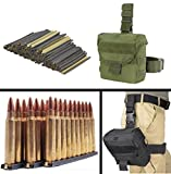 USGI 30 Pack .223 5.56mm 10 RD Round Military Mil-Spec Reusable Easy Reload Stripper Clips Brass Insert, USA MADE + OD Olive Drab Green MOLLE Dump Ammo Magazine Pouch Drop Leg Dropleg