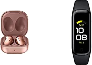 Samsung Galaxy Buds Live, True Wireless Earbuds w/Active Noise Cancelling (Wireless Charging Case Included), Mystic Bronze with Samsung Galaxy Fit 2 Bluetooth Fitness Tracking Smart Band – Black