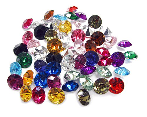 Linpeng Acrylic Gems Flat Back For Crafts - Faceted Round Acrylic Gems For Scrapbook And Craft Works Project - Table Scatters - Vase Fillers - Party Decoration Favor - Assorted Colors 10mm - 55 Pcs