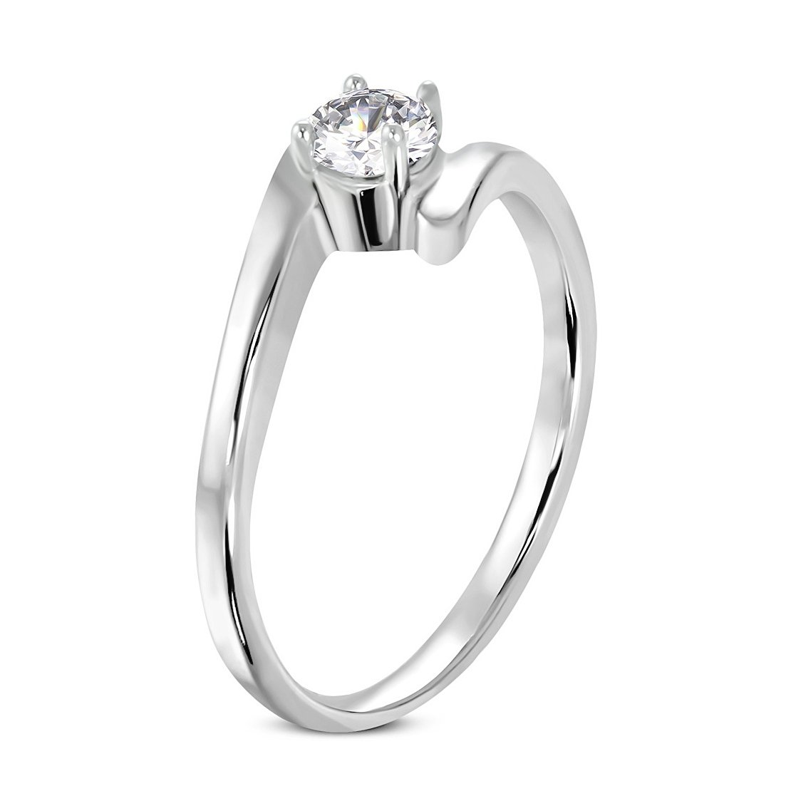 Stainless Steel Prong-Set Round Engagement Bypass Ring with Clear CZ