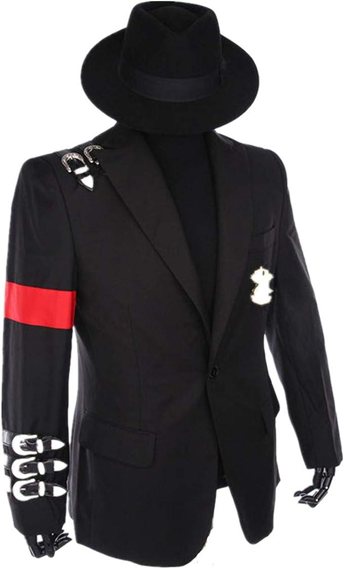 Halloween Cosplay Professionelle Suitable for Fans of Michael Jackson Cosplay Kostüm Retro Punk Stil Schwarze Michael Jackson Jacke Anzug Abzeichen