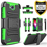 lg 2 phone accessories - LG Fiesta 2 Phone Case, LG X Charge Case, LG X Power 2 Case, LG Fiesta LTE Case,Circlemalls [Combo Holster]Built-In Kickstand Bundled With [HD Screen Protector] Hybird Shockproof And Stylus Pen(Green)