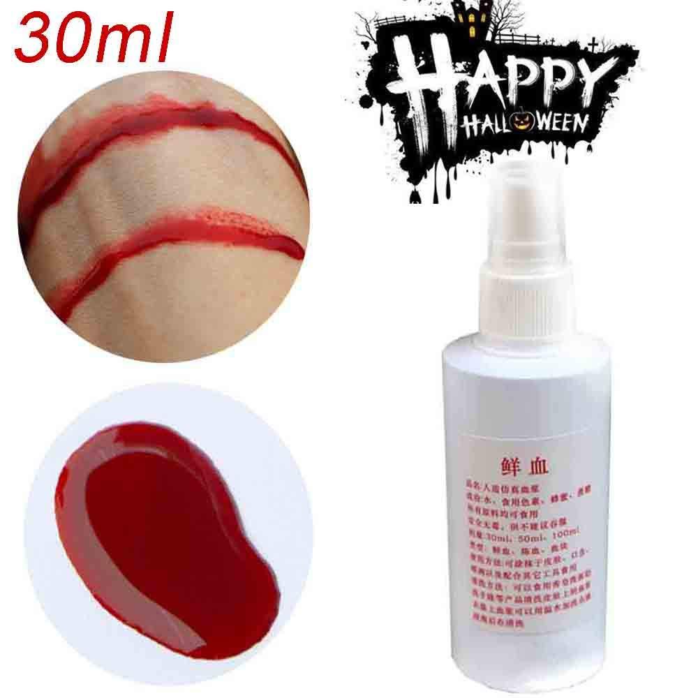 Halloween horror props, USHOT Halloween Fake Blood Bottle Realistic Human Vampire Blood Make Up Paint 30ml by USHOT (Image #1)