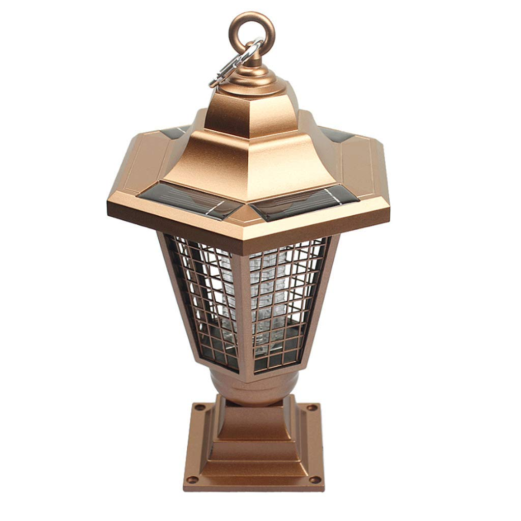 gold Explosion Models Solar gold Hexagonal Ground, Hanging, Flat Mosquito Lamp Outdoor Garden Lawn Mosquito Lamp (color   gold)