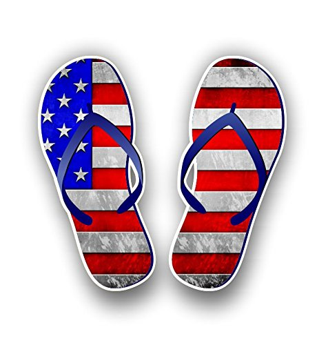 Flip Flop Sticker Graphic Vinyl Waterproof Decal for car Truck Laptop Custom Contour Cut (American Flag)