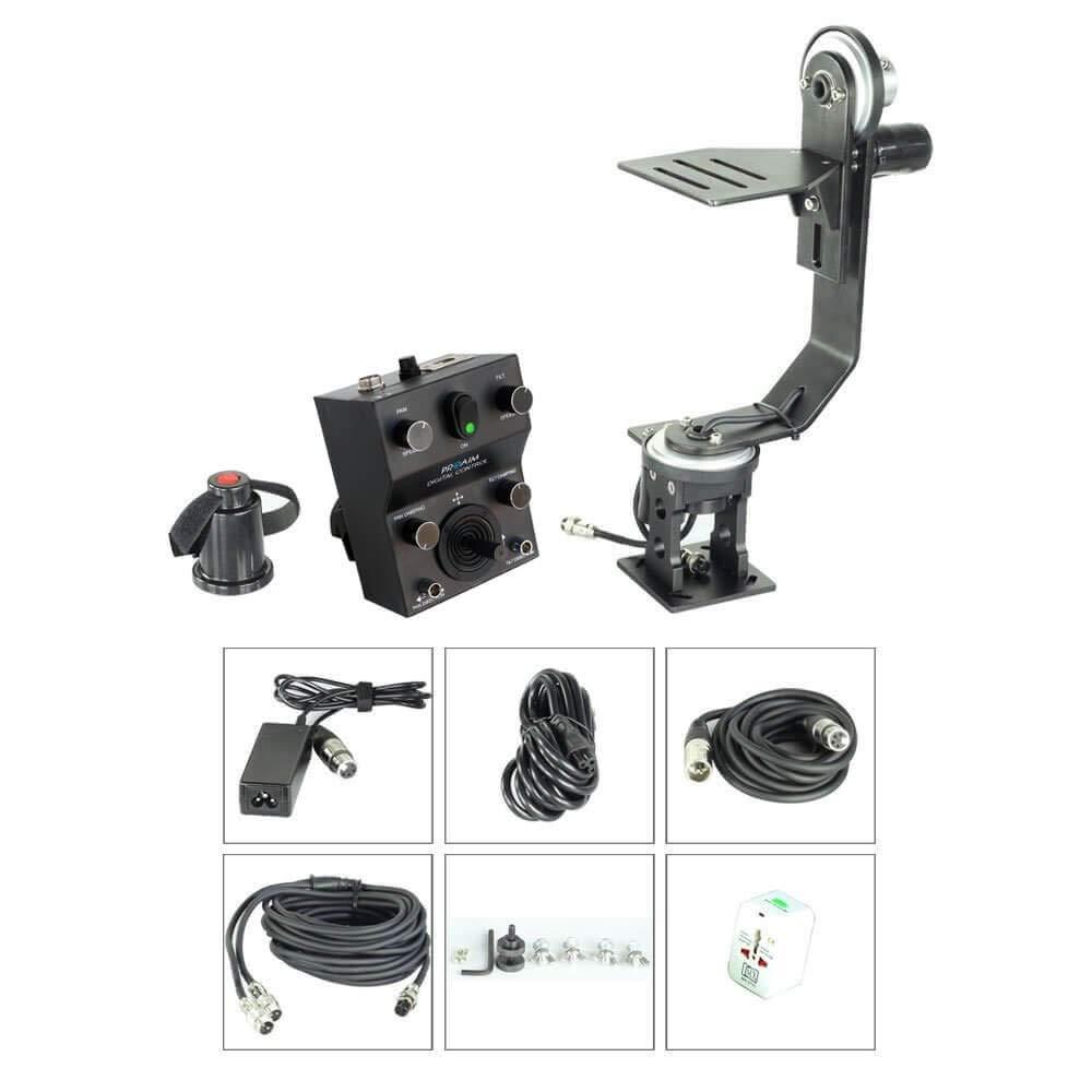 Proaim Professional Motorized Jr. Pan Tilt Head with 12V Joystick Control for DSLR Video Cameras Camcorders up to 6kg/13.2lb for Jib Crane Tripod + Carrying Bag (PT-JR) by PROAIM