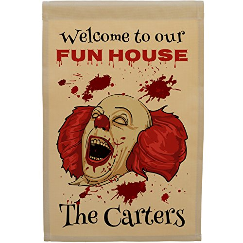 Happy Camper World Personalized Halloween Flag, Welcome to Our Fun House with Scary Clown, with 1 Line of Custom Text (Tan Flag)
