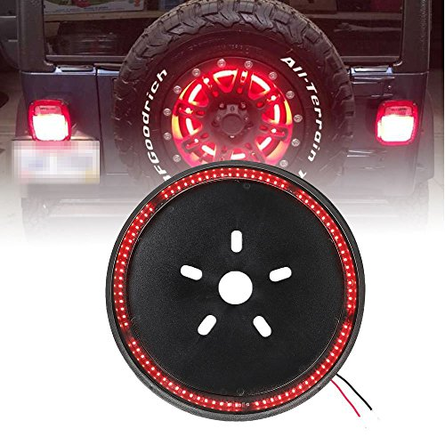 Spare Tire Brake Light Wheel Light 3rd Third Brake Light for Jeep Wrangler 2007-2017,Red Light