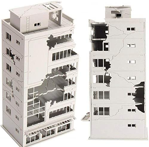EatingBiting N Scale 1//144 1:144 Ruined Damaged Building After War Assembling Model Outland Realism Scene for DIY Sand Table Garden Micro Landscape Ornaments Decor Supply DIY Player Spray Painting