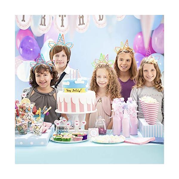 CXWILL Unicorn Headbands 30 Pcs Plastic Unicorn Hairbands for Girls Party Favors (6 Colors) 6