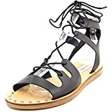 Steve Madden Women's Rella GLADIATOR Sandal, Black Leather, 8 M US