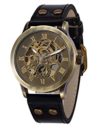 Vintage Bronze Case Mens Steampunk Bronze Skeleton Self-Winding Automatic Mechanical Leather Wrist Wacth (Black Leather)