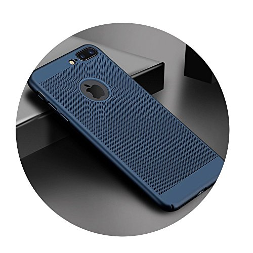 - Ultra Slim Phone Case For iPhone Hollow Heat Dissipation Cases Hard PC Blue For iPhone 8 Plus