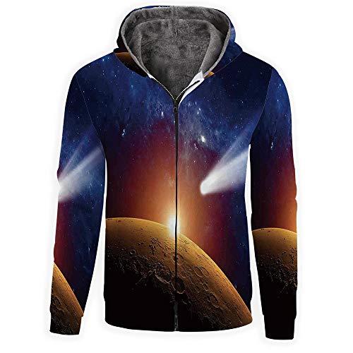 - MOOCOM Men's-Outer Space Decor Long Sleeve Full-Zip Bomber Jacket Hooded Varsity Jacket