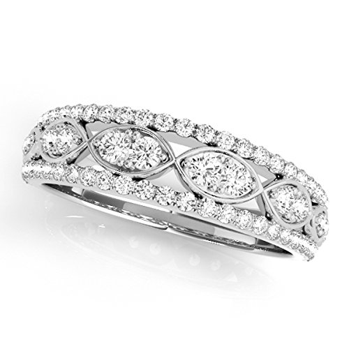 MauliJewels 0.50 Ctw. Diamond Delicate Wedding Band in 14K White Gold ()