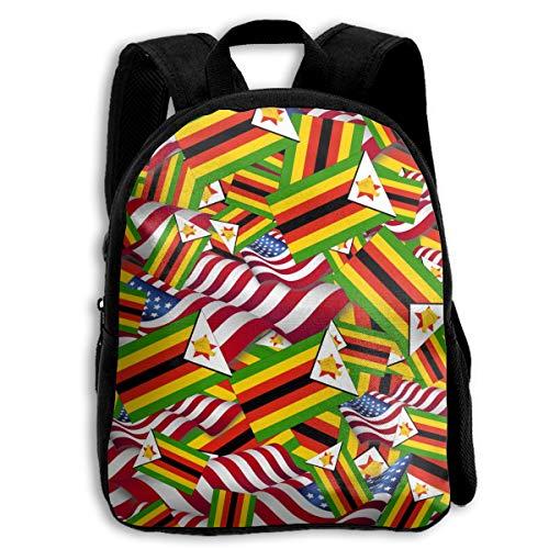 Zimbabwe Flag With America Flag School Backpacks For Kids 13
