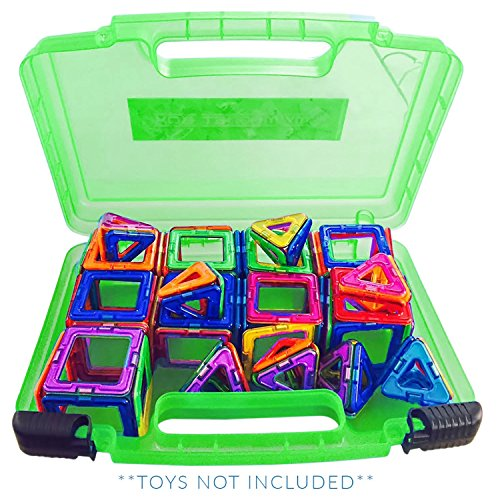 (Life Made Better New Magnetic Carrying Case, Compatible with Magformers and Magna Tiles, Playset Organizer (Green))