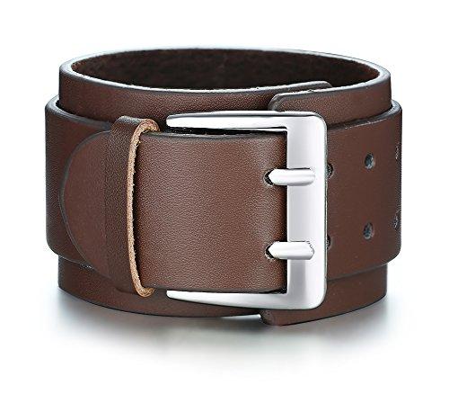 Mealguet Jewelry Unisex Punk Wide Genuine Leather Watch Band Buckle Leather Cuff Bracelets for Men Women,Brown from Mealguet Jewelry