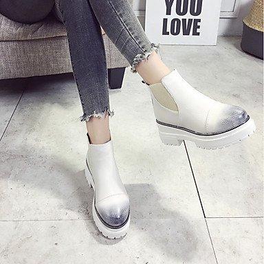 DESY Mujer Zapatos PU Otoño Invierno Botas de Combate Botas Tacón Robusto Dedo redondo Para Casual Vestido Negro Beige