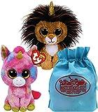 Ty Beanie Boos Golden Unicorns Ramsey & Fantasia Gift Set Bundle with Bonus Matty's Toy Stop Storage Bag - 2 Pack