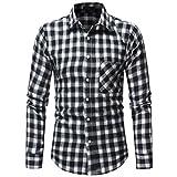 Gocheaper Men's Plaid Blouse Autumn Button Shirt Long Sleeved Pullover Fastener Sweatshirts Top (XXL, Black)