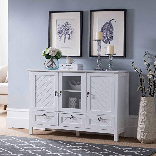 Kings Brand Furniture - Evans Sideboard Buffet Console Table Storage Cabinets, White