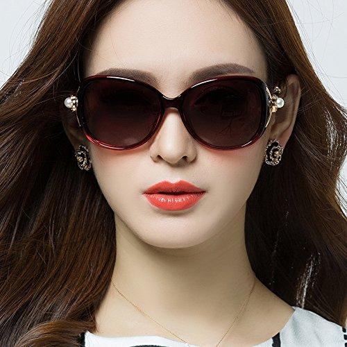 Redonda equiparse con vino de Púrpura Gafas 8cm Sol Gafas del Gafas de Cara Las Pueden Miopía de 5 con polarizadas WWF 14 Sol Color de OwYnSq