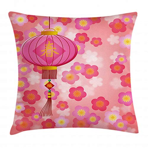 Ambesonne Lantern Throw Pillow Cushion Cover, Chinese New Year Theme Cherry Blossom Auspicious Festive Celebration Print, Decorative Square Accent Pillow Case, 20 X 20 Inches, Light Pink -