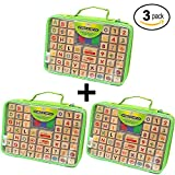 3 Pack - Alphabet Rubber Stamps - 67 Pcs. Set of ABC, Numbers, Emojis, Washable 3 Color Ink Pad and Carrying Case. (C- 3 Pack Alphabet Stamp Set)