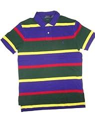 Polo Ralph Lauren Men's Custom Fit Stripe Pony Shirt-Royal Marine/Multi-Medium