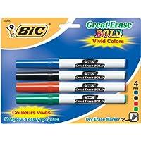 BIC Great Erase BOLD Marcador de borrado en seco, punta fina, colores surtidos, 4 unidades