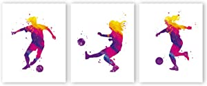 "XUN Watercolor Women Football Art Print- Soccer Silhouette Sport Theme Canvas Wall Art-(8""X10""X3 Pieces, Unframed)-Perfect for Girls Bedroom Decoration"