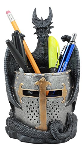 Ebros Medieval Fantasy Saint George Dragon Guarding Medieval Knight Helmet Stationery Pen Holder Statue 7