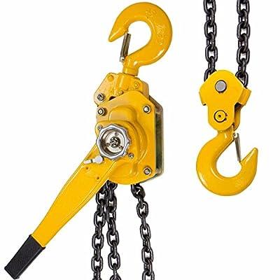 "KCHEX>3/4 Ton Lever Block Chain Hoist Ratchet Type Come Along Puller 20FT Chain Lifter>20 foot lift 1/4""(6 mm) chain diameter Mechanical load brake when lifting"