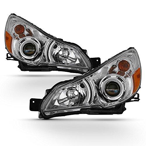 ACANII - For Chrome 2010 2011 2012 2013 2014 Subaru Legacy Outback Headlights Headlamps 10-14 Driver + Passenger Side