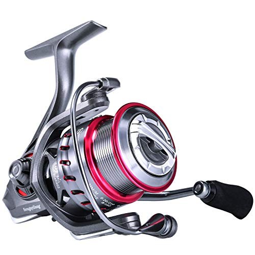 Sougayilang Spinning Reel 5.2:1/6.2:1 Light Smooth Shallow Spool Fishing Reel with Powerful Carbon Fiber Drag System for Saltwater or Freshwater