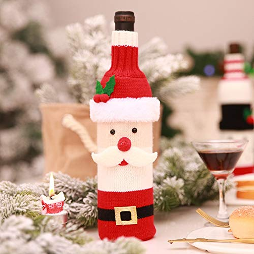 Stockings & Gift Holders - Creative Cloth Wine Bottle Santa Claus Snowman Button Cover Cap Clothes Decoration Party - Holders Stockings Stockings Gift Holders Button Decor Paper Wine ()