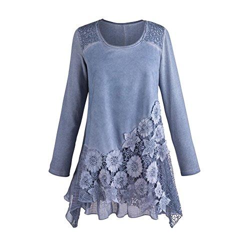 CATALOG CLASSICS Women's Tunic Top - Moonlit Garden Blue Lace Blouse - 1X