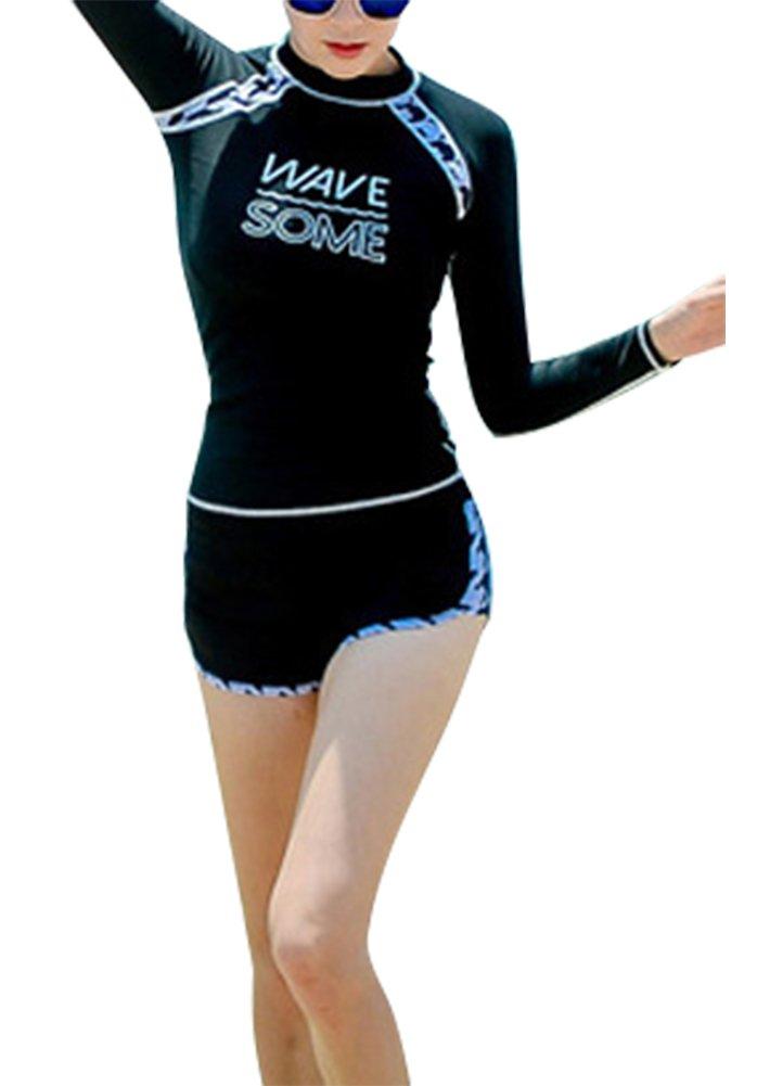 Smibra Womens Long Sleeve Printing Rush Guard Board Shorts Retro Two Pieces Sports Swimsuits